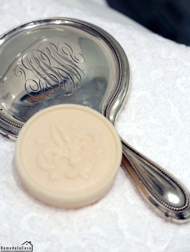 Small bathroom makeover - with vintage monogrammed hand mirror