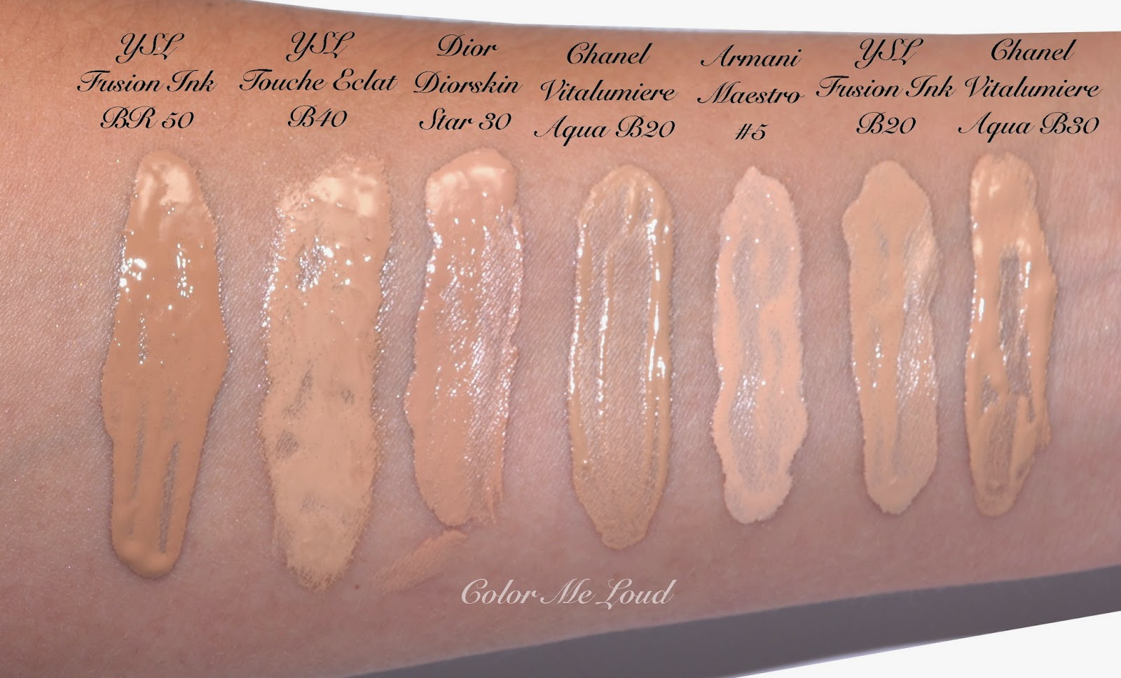 Swatches of Yves Saint Laurent Encre de Peau Fusion Ink Foundation and  comparison to other foundations b4a1594879