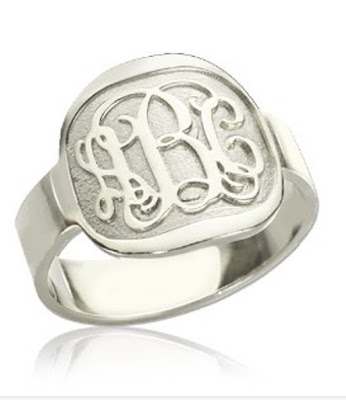 Fancy Script Men's Engraved Monogram Ring Sterling Silver (Price: $ 35.69)