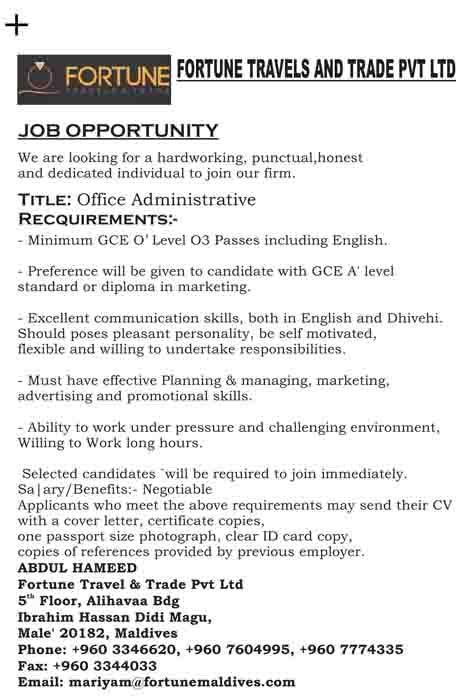 Job Maldives Administrative Assistant Jobs In Maldives