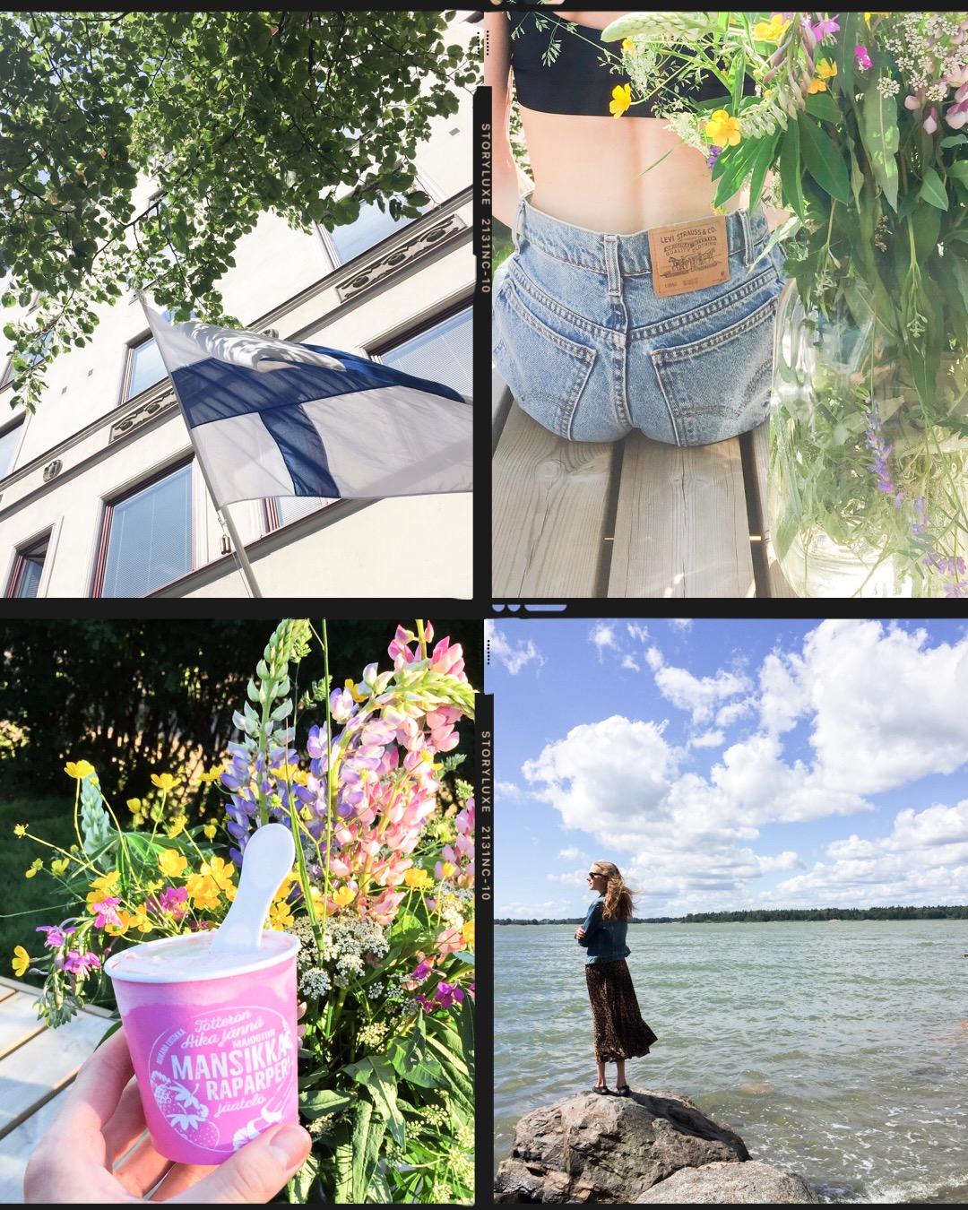 summer-photos-midsummer-finnish-flag-levis-denim-shorts-vegan-ice-cream-nature-kesäkuvia-juhannus-farkkushortsit-vegaani-jäätelö-tötterö-helsinki-luonto