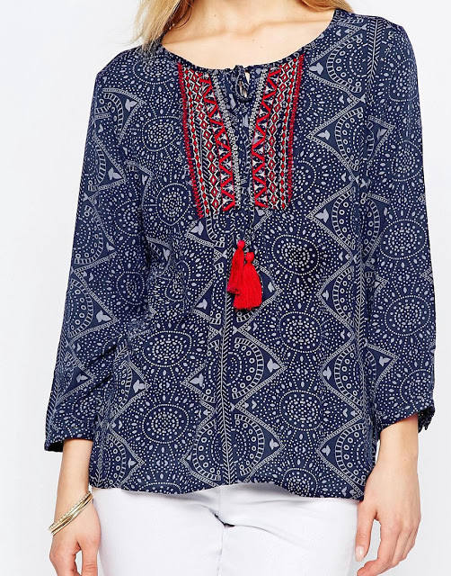Abstract Print Boho Blouse with Knitted Red and White Embroidery