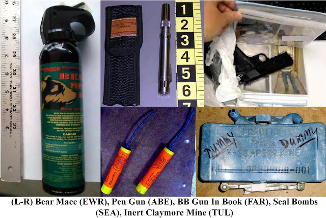 Bear mace, pen gun, gun in book, seal bombs, inert claymore mine.