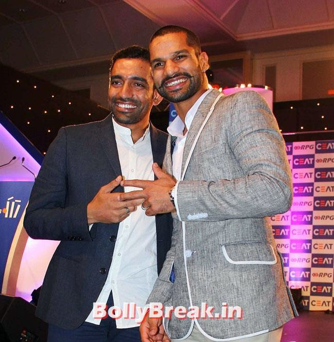 Robin Uthappa and Shikhar Dhawan, Chitrangada Singh performed at CEAT Cricket Ratings Awards 2014