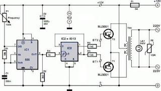 Skema Inverter 12V Ke 220V AC Menggunakan IC 555