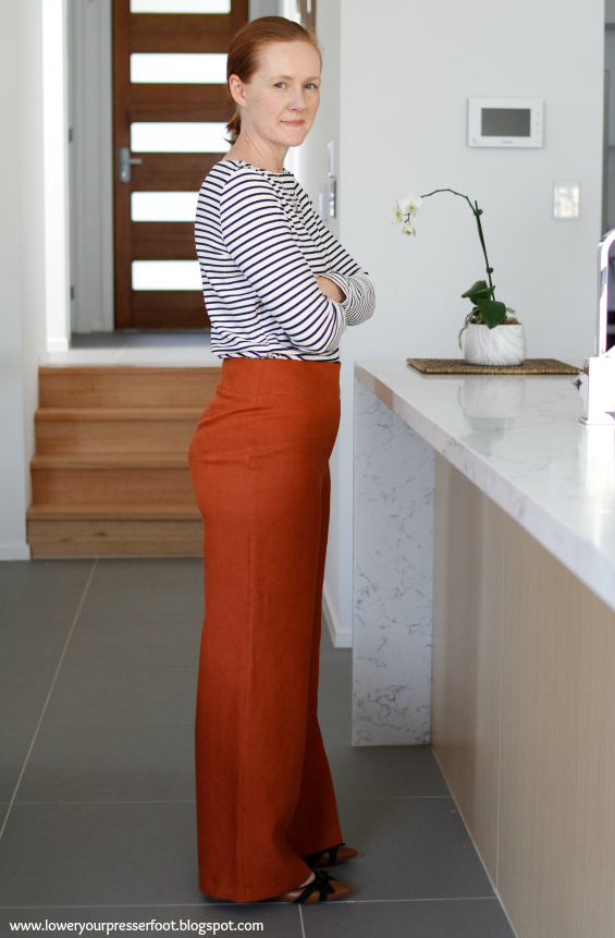 wide leg linen pants in rust colour