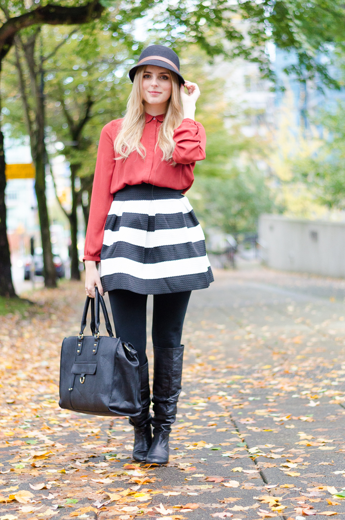 How to Style a Skater Skirt, how to layer a skirt for fall, winter outfits