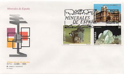 Sobre Primer Día de Circulación de sellos de minerales de España: escuela de Minas de Madrid, dolomita y aragonito
