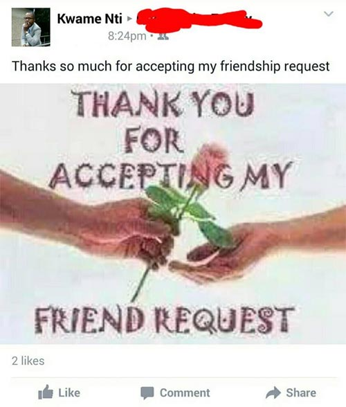 "SMH. People who thank other people for ""accepting"" Facebook friend request"