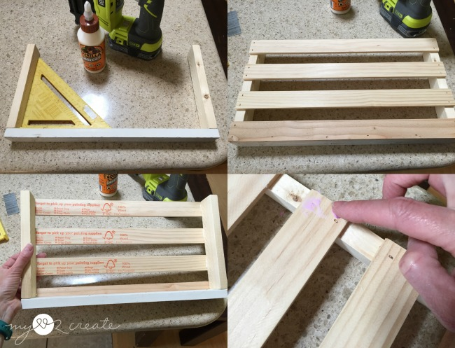 using a square to build magazine rack, attaching slats, and filing nail holes