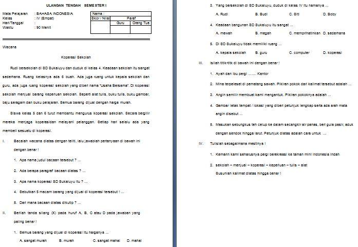 Download Contoh Soal UTS SD/MI Kelas IV Mata Pelajaran Bahasa Indonesia Semester 1 Format Microsoft Word