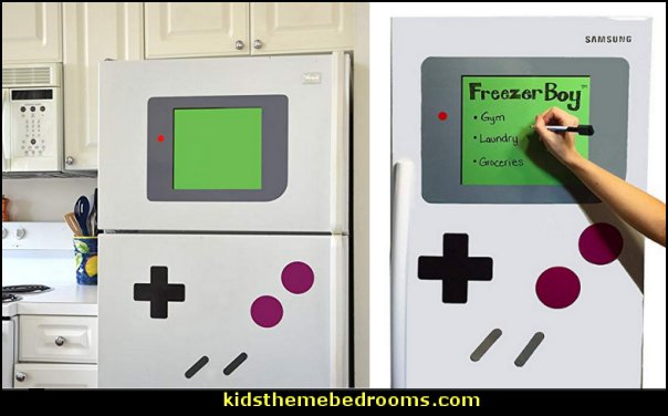 FreezerBoy Refrigerator Magnets  Gamer bedroom - Video game room decor - gamer bedroom furniture - gamer wall decal stickers - Super Mario Brothers Wall Stickers - gamer bedding - Super Mario Brothers bedding - Pacman decor -  Retro Arcade bedrooms - 80s video gamers - gamer throw pllows - minecraft bedroom ideas - minecraft bedroom decor