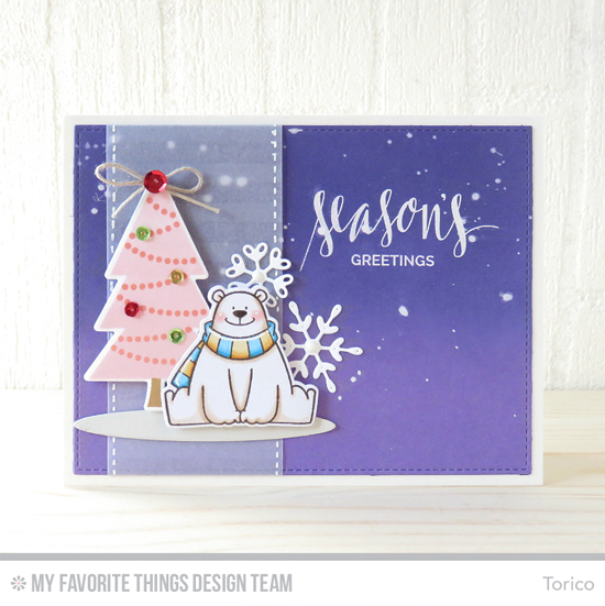 Handmade card from Torico featuring Hand Lettered Holiday stamp set, Oh Christmas Trees and Birdie Brown Polar Bear Pals stamp sets and Die-namics, Distressed Stripes Background stamp, and Stylish Snowflakes, Oval Shadows, and Blueprints 24 Die-namics #mftstamps