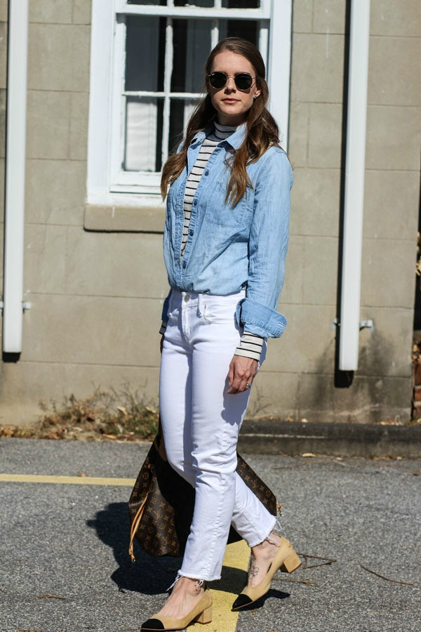 How to style white denim in the fall