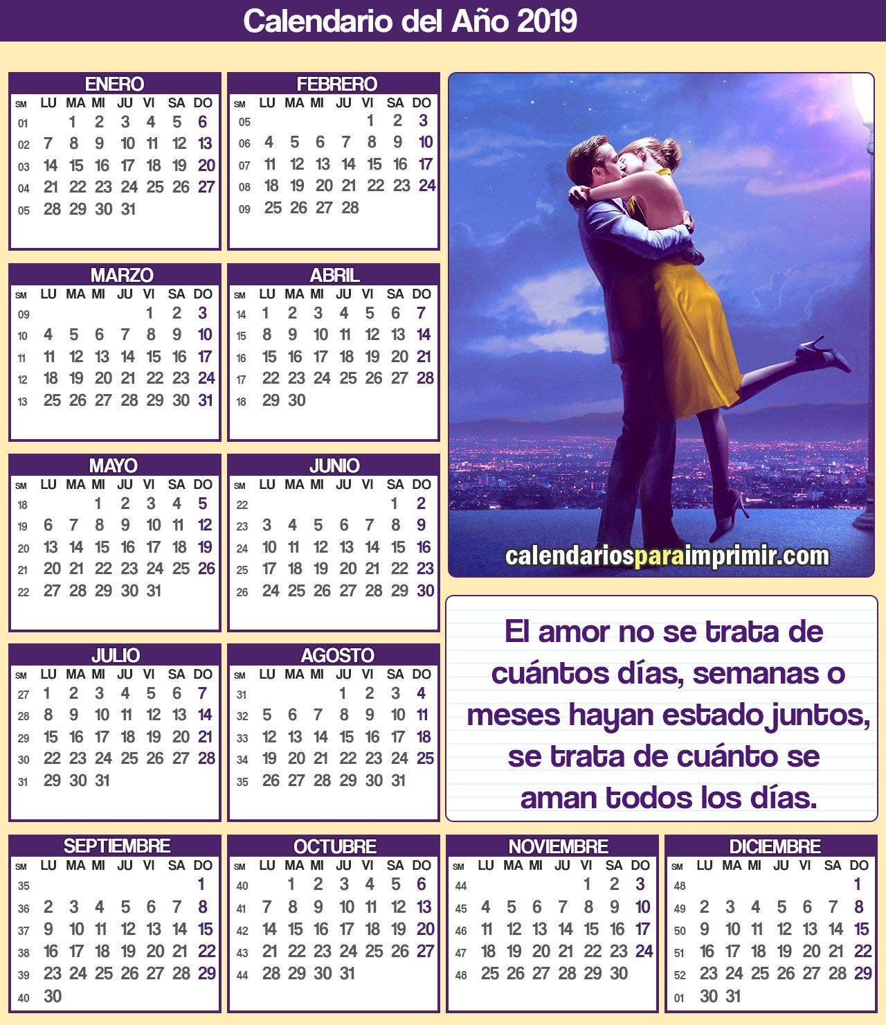 calendario para imprimir 2019 enamorados