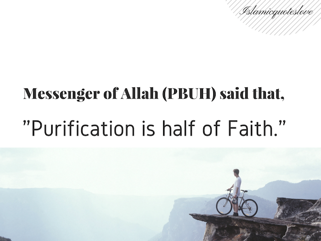 "Messenger of Allah (PBUH) said that, ""Purification is half of Faith."""
