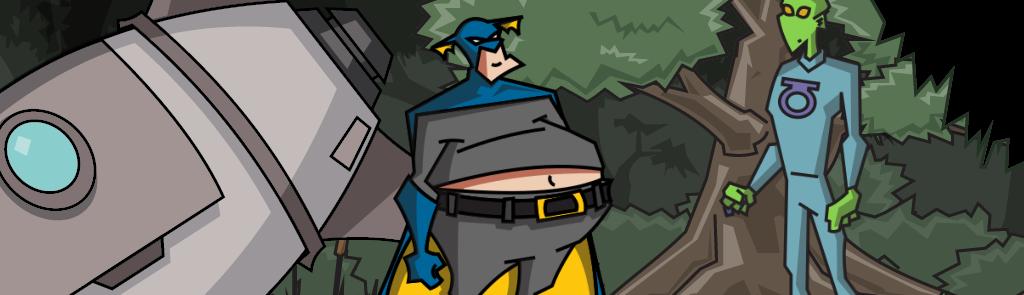 Fatman, un superhéroe entrado en carnes, enfrente de un alienígena.