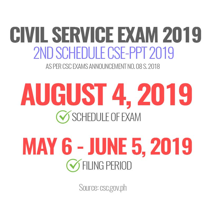 Details August 2019 Civil Service Exam Cse Ppt Schedule Application Requirements
