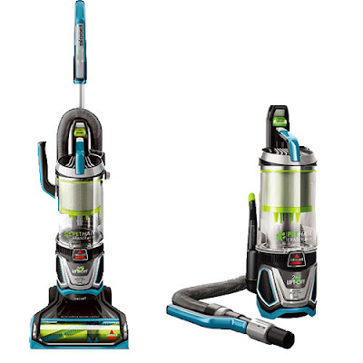 The Bissell Pet Hair Eraser Lift-Off vacuum, with the canister on, and with it detached.