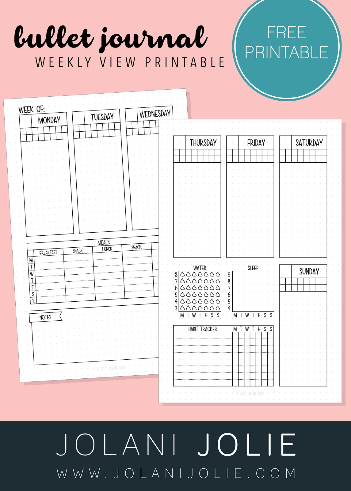 Free Printable Weekly Bullet Journal Overview With Sleep Water Amp Habit Tracker