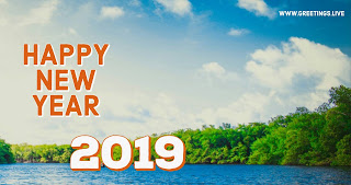 Simple nature rever water Happy New year greetings Live