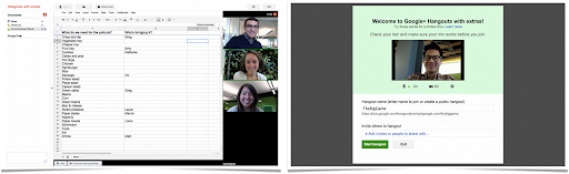 Hangouts with extras: Docs (left), Named Hangouts (right)