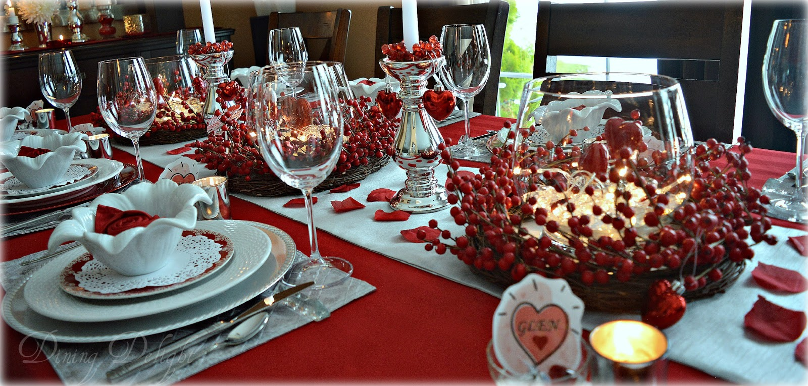 Dining delight red berry valentine tablescape