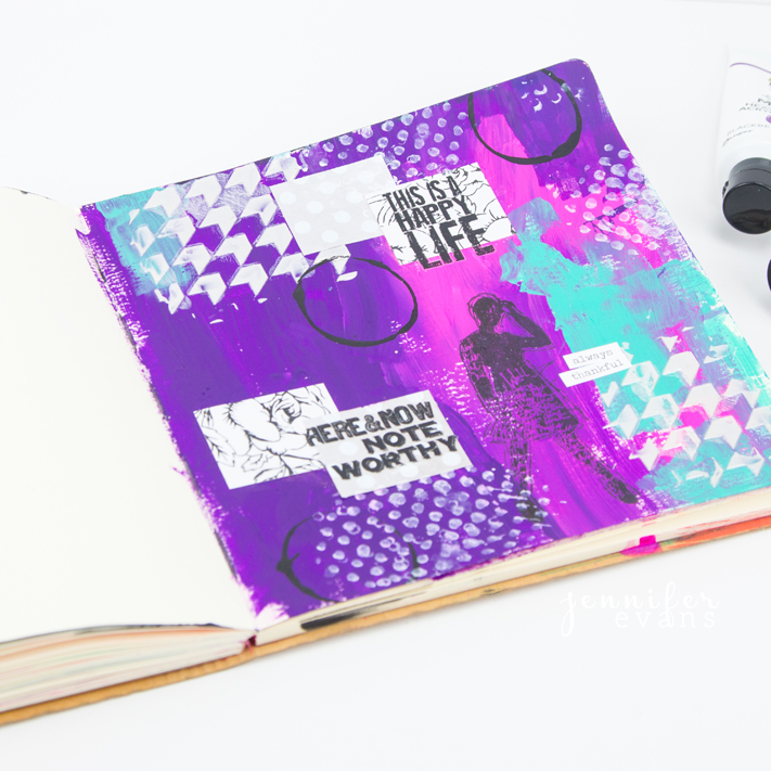 You were created to be creative mixed media art journal page by @createoften