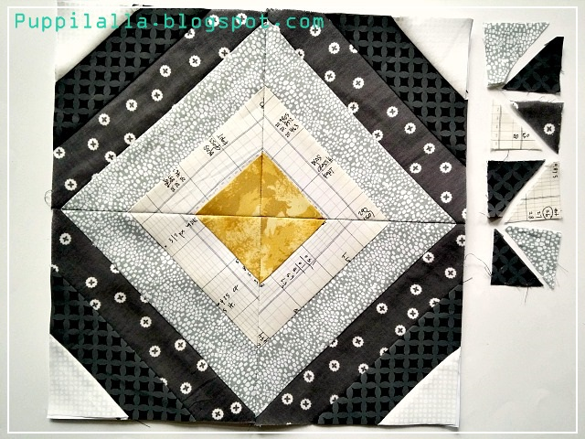 Quilting Bee, The Bee Hive, Bee Block, Treasure Hunt Block, Puppilalla, monochromatic quilt