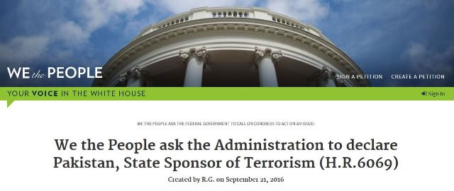 White House Petition to declare Pakistan as Hub of Terror