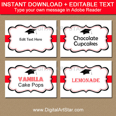 editable graduation candy buffet labels in red and white with black accents