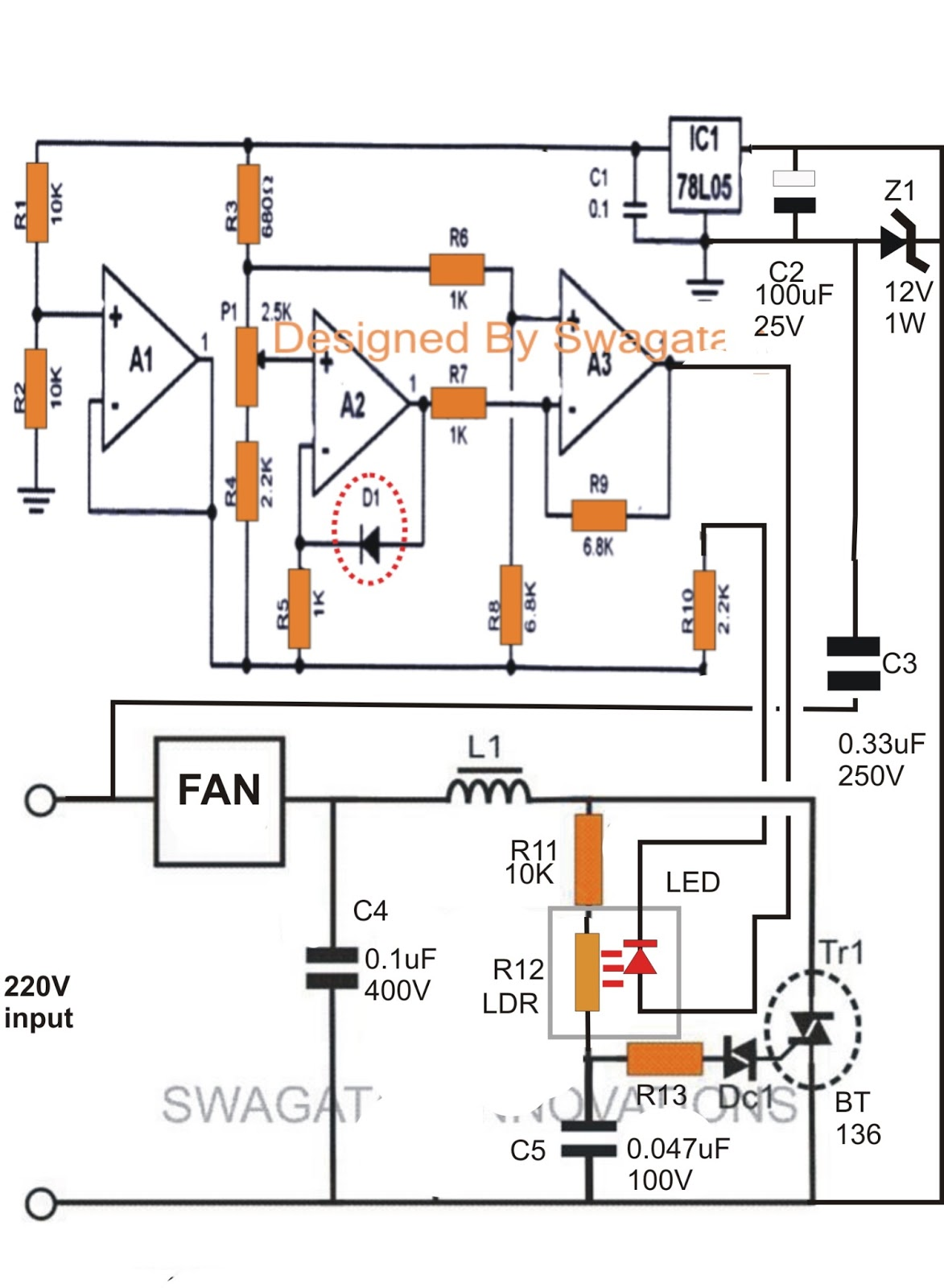 Climate Dependent Automatic Fan Speed Controller Circuit
