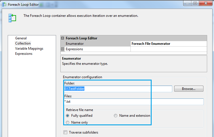 Delete files from specified folder using File System Task in