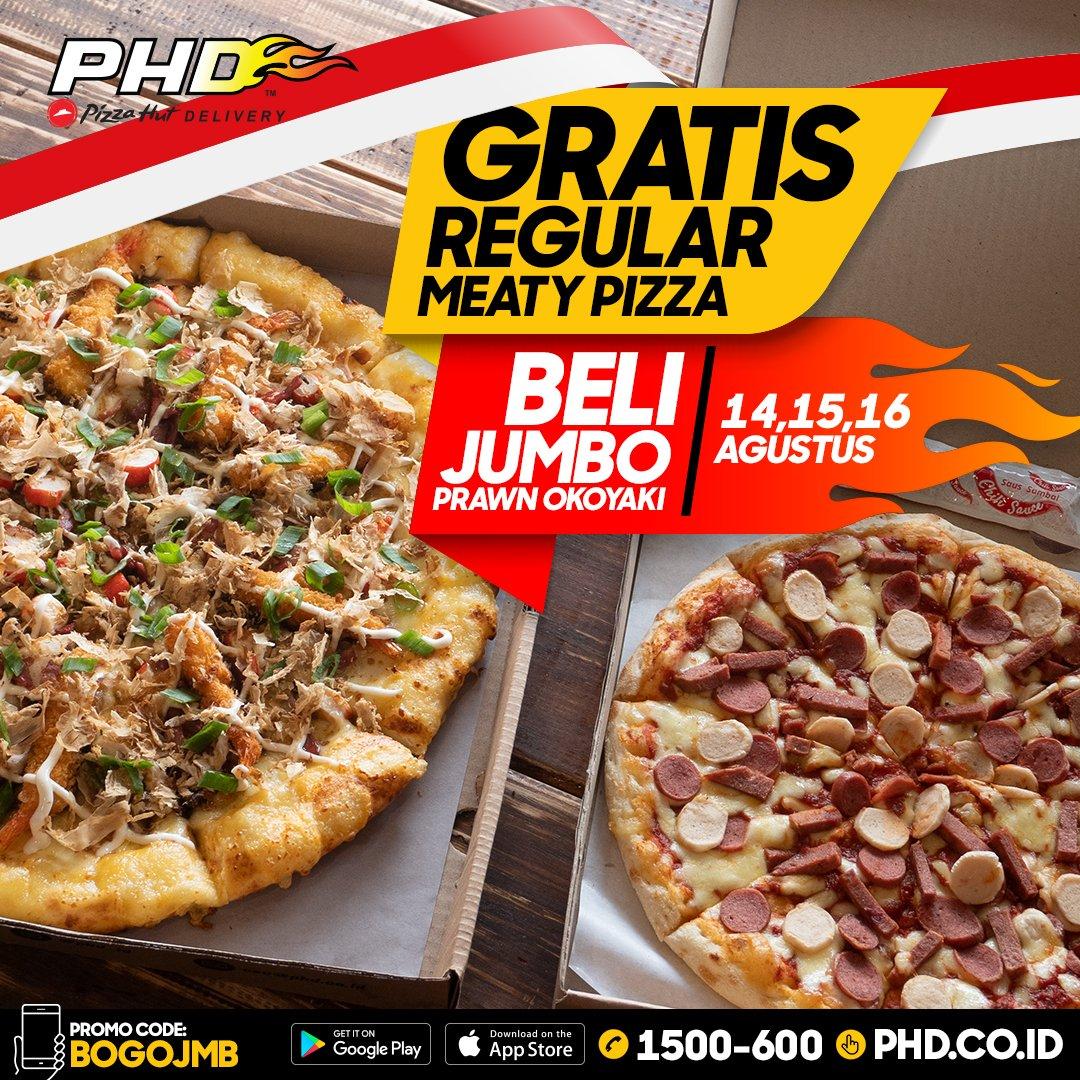 PHD - Promo Beli Jumbo Prawn Okoyaki Gratis Regular Meaty Pizza (s.d 16 Agustus 2018)