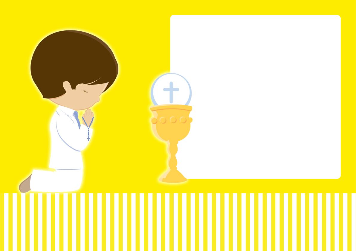 Primera Comunión de Niño: Mini Kit en Amarillo para Imprimir Gratis ...