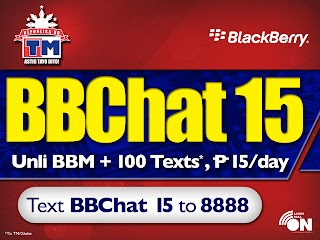 Enjoy Unli BBM Chat with TM (Touch Mobile) and Globe BBCHAT 15 Blackberry Promo