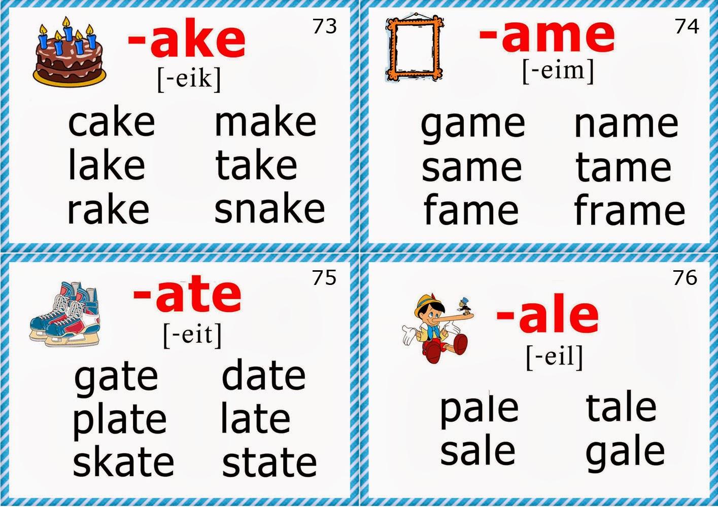 Workbooks long vowel digraphs worksheets : Phonics Flashcards (Long A Vowel)