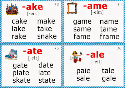 phonics flashcard, long a vowel