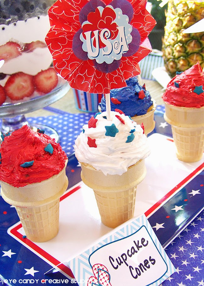 USA, memorial day dessert ideas, cupcake cones, patriotic, ice cream cones