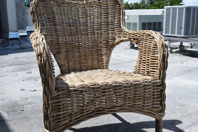 Outdoor Wicker furniture refinished for indoor use