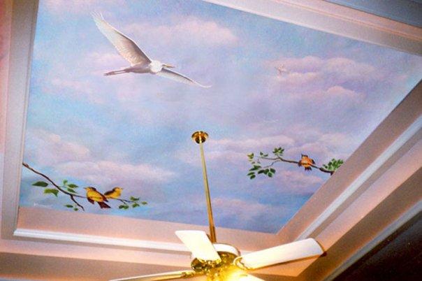 Pusat pelayanan pembuatan lukisan motif gambar awan diplafon dan dinding dengan hasil gam Jasa Pembuatan Mural Lukis Motif Awan Dinding Dan Plafon