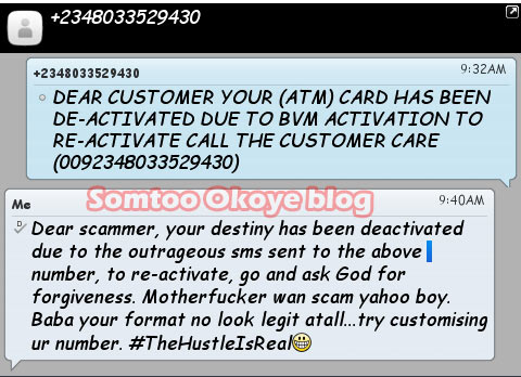 Choi! Check out how this would-be victim replied intending BVN scammer