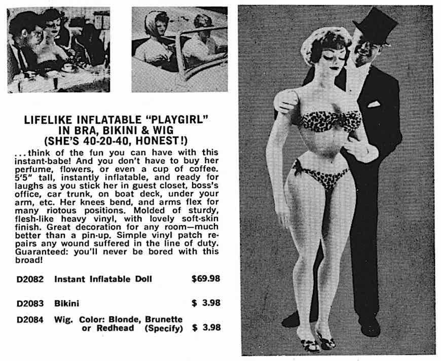 "a 1960s ""Lifelike inflatable playgirl"" advertisement"