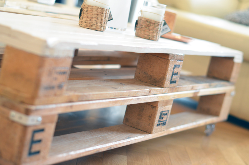 Table Basse En Bois De Palettes Double Support Alu Et Acier Tables