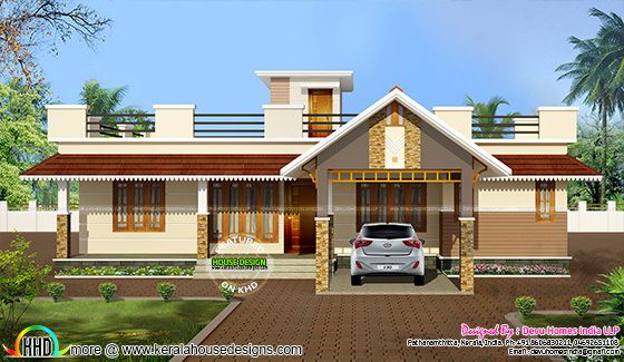 Single Floor Elevation Usa : Traditional mix single floor exterior home kerala