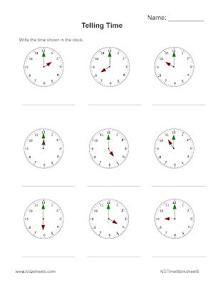 Kidz Worksheets: Kindergarten Time Worksheet9