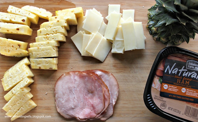 deli meat, snack, pineapple, cheese