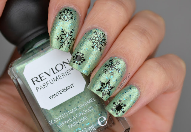 Revlon Parfumerie Wintermint Swatch with Snowflake Nail Art