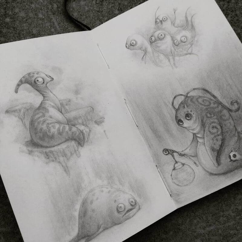 07-Stella-Bialek-Moleskine-Fantasy-Creatures-Drawings-www-designstack-co