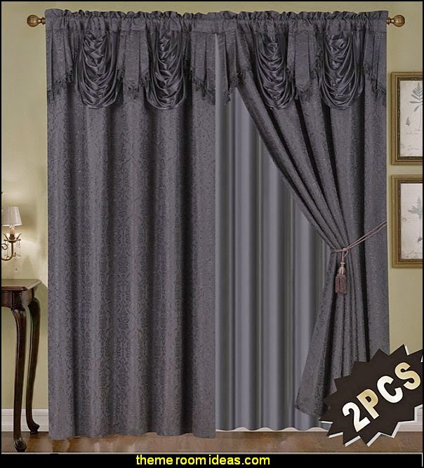 Luxury Embroidered Curtain Set. 4 Piece Black Drapes with Backing & Valance & Tie Backs
